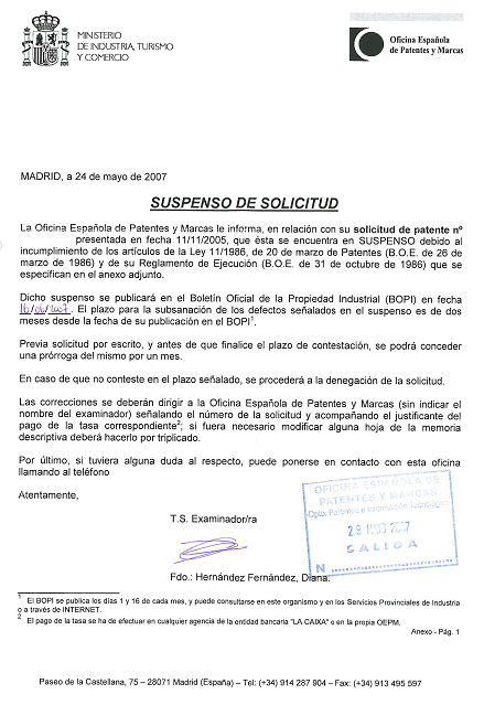Ejemplo de documento de suspenso de solicitud de patente